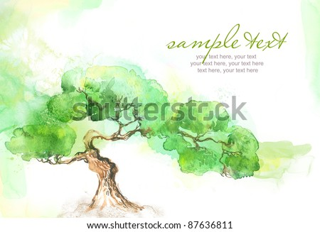 Painted watercolor card with trees and text - stock photo