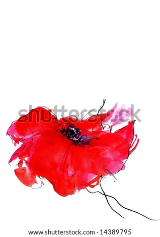 Painted watercolor floral background with a single romantically red poppy. Art is created and painted by photographer - stock photo