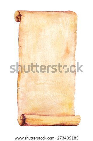 Painted watercolor old scroll paper. Use for your cards, flyers and invitations.   - stock photo