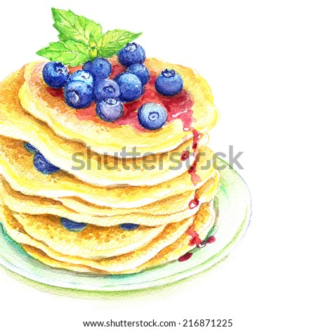 Painted watercolor pancakes with blueberries - stock photo