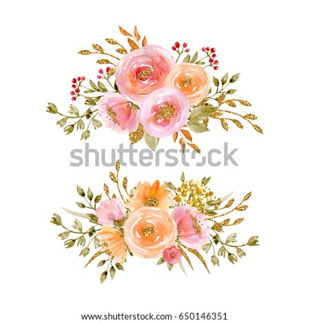 Painted watercolor set flowers gold sparkle stock illustration painted watercolor set of flowers with gold sparkle on white background elements for design mightylinksfo