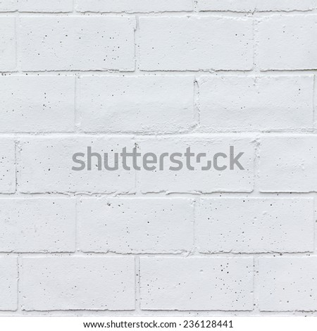 Painted white brick wall texture background - stock photo