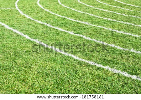 Painted white lines on grass as a racing track - stock photo