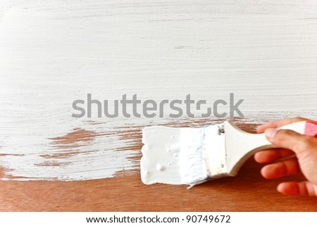 Painted white wood flat on the floor - stock photo