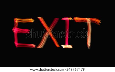 Painted with Light Exit Sign - stock photo