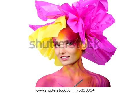 painted woman - stock photo