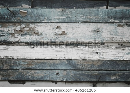 Painted wooden boards.