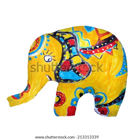Painted Wooden Elephant Toy - stock photo