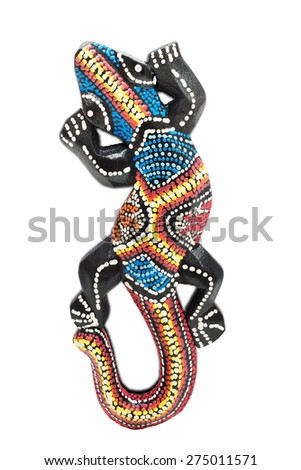 Painted wooden lizard - isolated on white background - stock photo