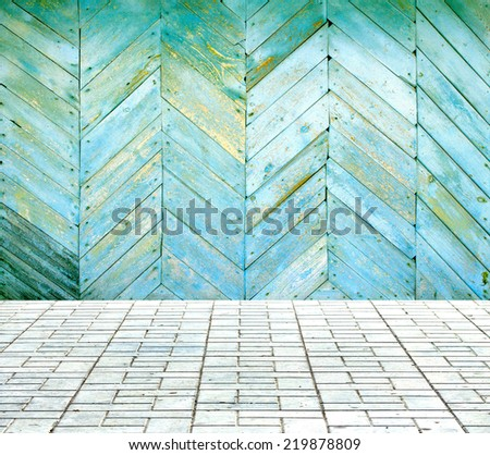 Painted wooden room with tiled floor - stock photo