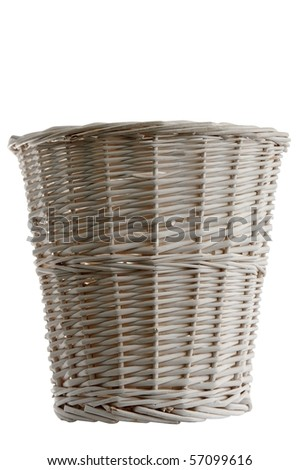 Painted wooden waste paper basket isolated on white - stock photo