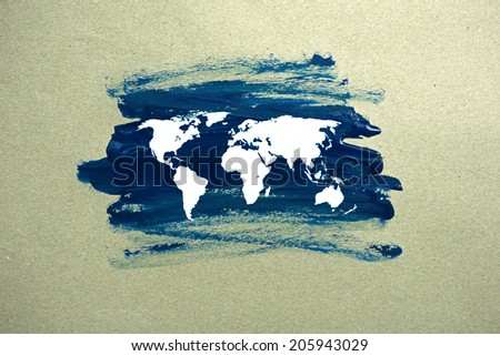 painted world map on paper - stock photo