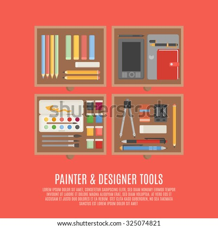 Painter and designer digital and manual tools in drawers flat color concept  illustration - stock photo