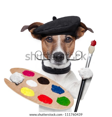 painter artist dog color palette - stock photo