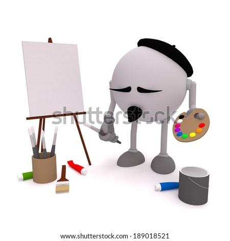 Painter artist, paint painting painter, painter canvas - stock photo