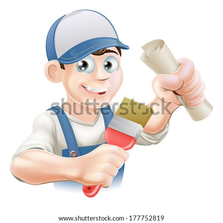 Painter decorator with certificate, qualification or other scroll and paint brush. Education concept for being professionally qualified or certificated.  - stock photo