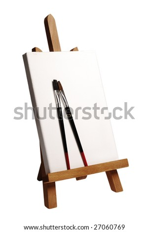 painter easel with brushes on a white background - stock photo