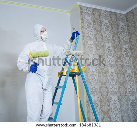 Painter man in white uniform