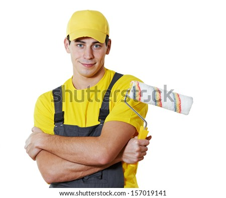 painter man worker portrait with painting roller - stock photo