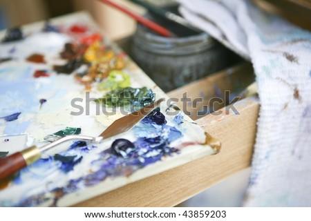 painter's palette - stock photo