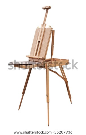 Painter's portable easel isolated. Clipping path included. - stock photo