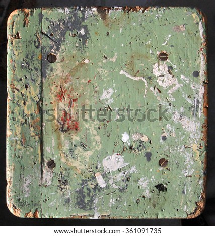 Painter's stool - much used and covered with paint marks - stock photo
