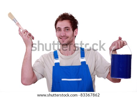 Painter with a pot of blue paint - stock photo