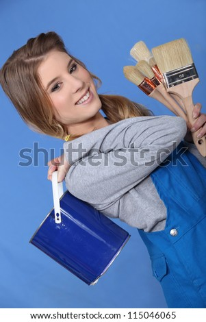 Painter with brushes - stock photo