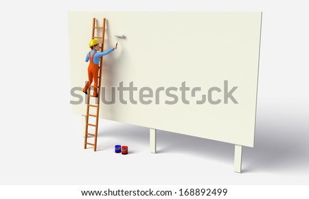 Painter with paint roller - stock photo