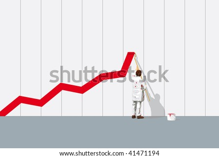 painter with paint-roller painting business chart on grey wall