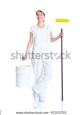 Painter woman. Isolated on white background. - stock photo