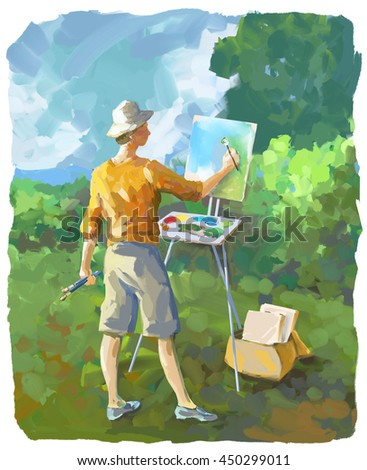 Painterly digital illustration of a woman painting at her easel outdoors plein air - stock photo