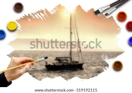 Painting a boat scene with watercolors. These are my own images of my portfolio 159228232, retouched with filter to get a hand painted effect with a real mine image of an arm with a brush. - stock photo