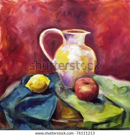 Painting a pattern drawn by oil color on a canvas a beige jug on a green fabric with a red apple and a lemon on a dark red background - stock photo
