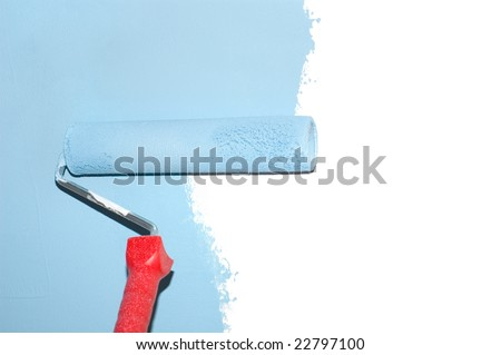 painting a wall with a roll in blue