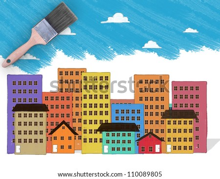 painting and paint a brush - stock photo