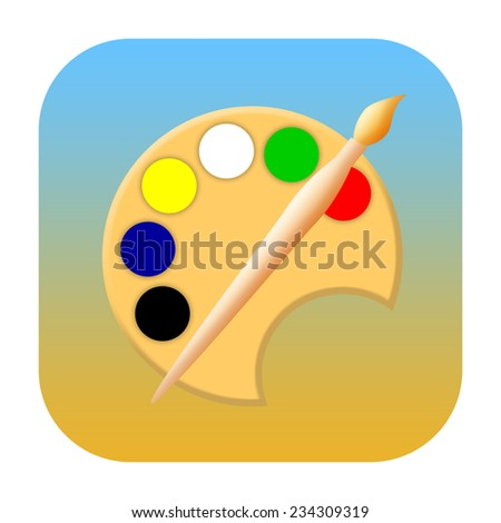 Painting art icon with paint brush and palette - stock photo
