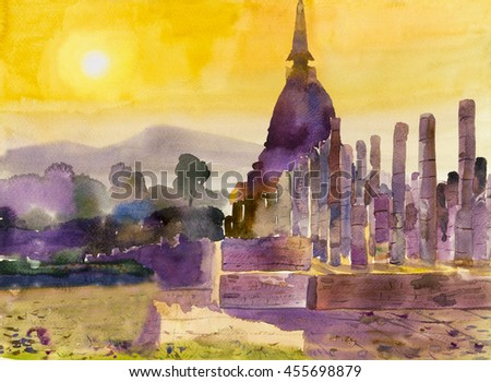 Painting art watercolor landscape original  colorful of archaeological site and emotion in sunset sky background  - stock photo