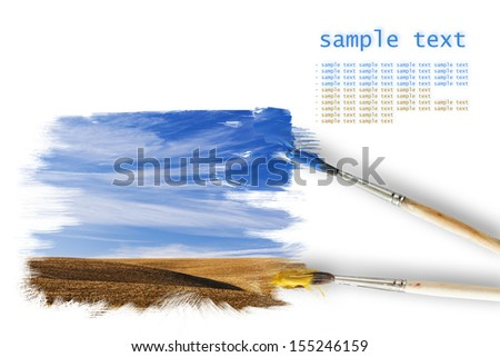 Painting autumn landscape with blue sky - stock photo
