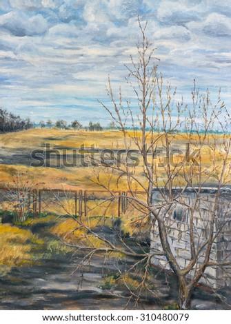 Painting. Autumn rural landscape - stock photo