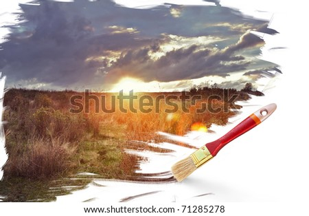 Painting beautiful sunset with dark clouds - stock photo