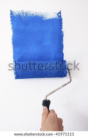 painting blue - stock photo