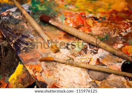 painting brushes - stock photo