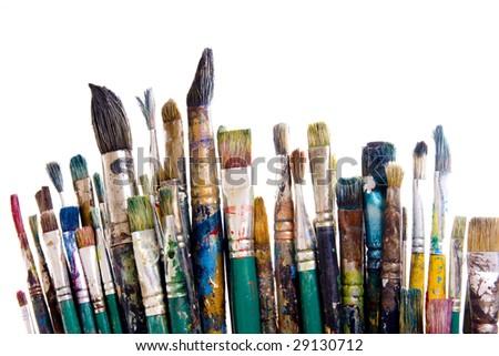 Painting brushes isolated on white - stock photo