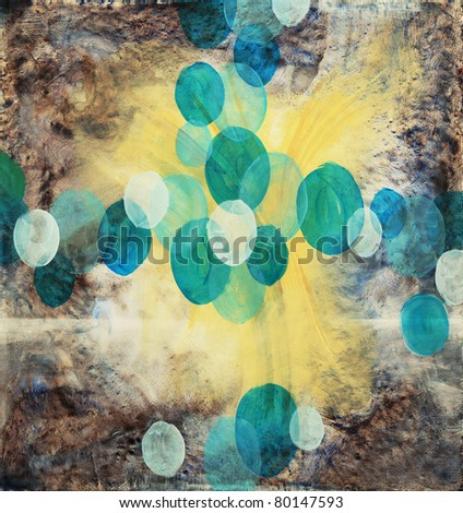 Painting by Clive Watts - Blue Ovals - stock photo