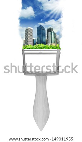 painting city landscape with brushes  - stock photo
