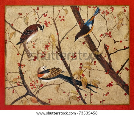 Painting. Colorful birds on branches with red berries - stock photo