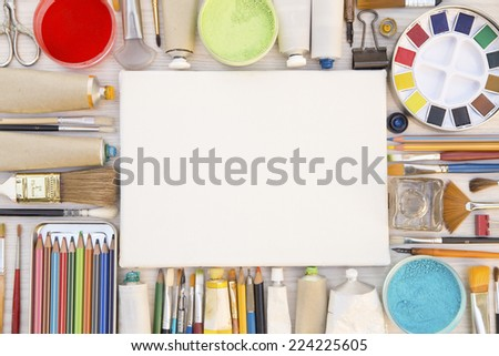 Painting equipments close up as background - stock photo