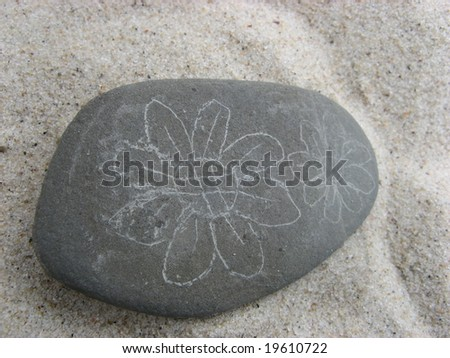 painting flower on the stone on the sand at the beach