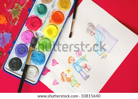 Painting for Grandmother's Day - stock photo